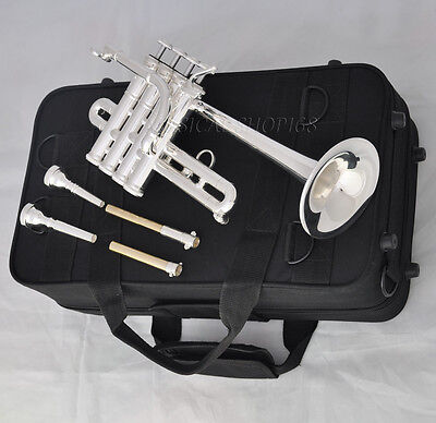Professional 4 piston silver Soprano trumpet horn Bb/A key with case 2mouthpiece