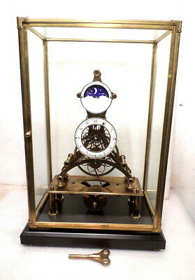 "Chain Fusee Skeleton Clock 19 1/4"" High With Moon Dial--wonderful gift"