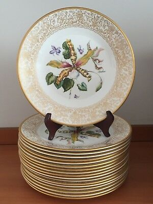 18pc BOEHM China Plates FLOWERS OF THE WORLD Spider Orchid Clematis Rhododendron