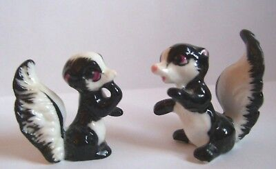 Vintage Miniature Bone China Skunk Figurines