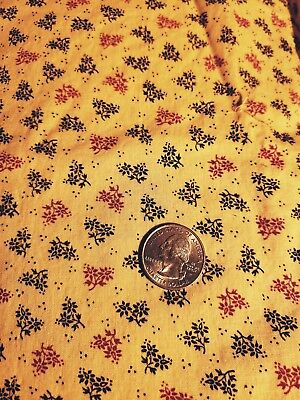Vintage cotton fabric Red/Black on Yellow
