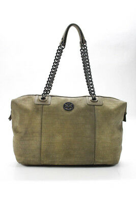 Tory Burch Womens Shoulder Handbag Green Suede Leather Silver Tone Chain Link