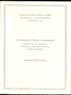 MENUS (4 different)  Special Southern Pacific Train for Nikita Khrushchev, 1959