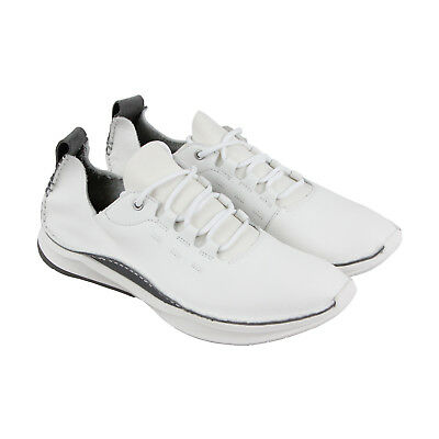 Clarks Privolutionlo Mens White Leather Lace Up Sneakers Shoes