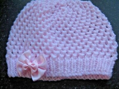 Lovely Hand Knitted Baby Beanies Hat In Pink Size New Born