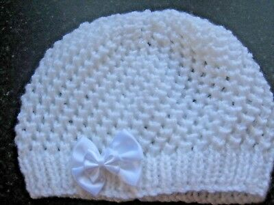 Lovely Hand Knitted Baby Beanies Hat In White Size New Born