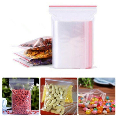 100x/bag Small Zip Lock  Clear Plastic Bags Reclosable Resealable Zipper 8 Sizes