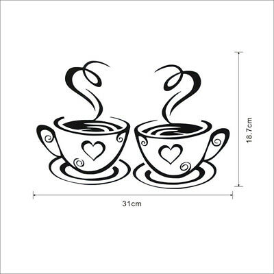 1 pair Coffee Cups Kitchen Wall Stickers Cafe Vinyl Art Decals Diner Pub Hearts