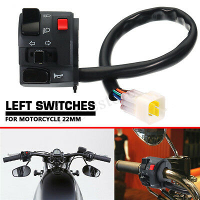 "7/8"" Universal Motorcycle Left Switch Turn Signal Light Horn Button"