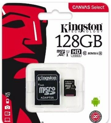 New Kingston 128GB MicroSD SDXC SDHC Memory Card Class 10 UHS-I 80MBs with adapt