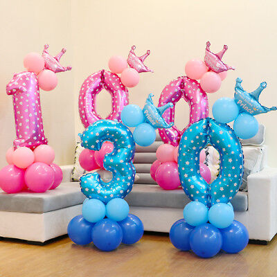 32'' Number Foil Balloons Set Giant Digit Happy Birthday Party Decor Baby Shower