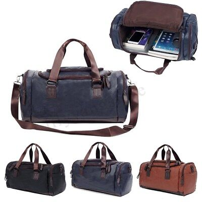 adefb91e630d Large Capacity Men Leather Duffle Bag Travel Gym Tote Handbag Shoulde Bags