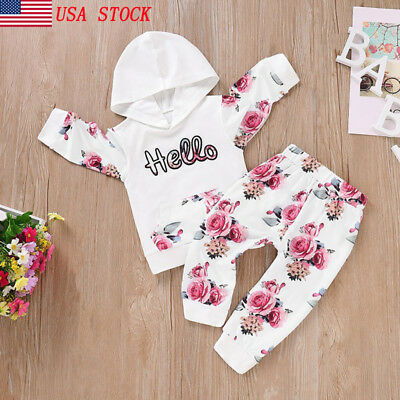 US Stock Toddler Kid Baby Girl Hooded Tops Leggings Outfit Set Clothes Tracksuit