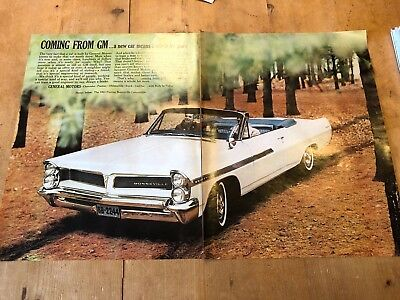 "VINTAGE 1963 PONTIAC BONNEVILLE CAR USA COLOUR DOUBLE-PAGE ADVERT (13"" x 20.5"")"