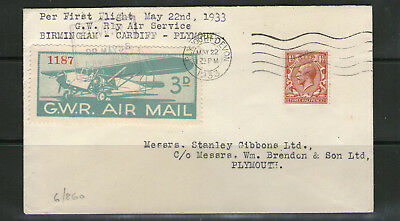 """Great Western Railway """"First Flight"""" Cover.  G.W.R. Air Mail. (1933)"""