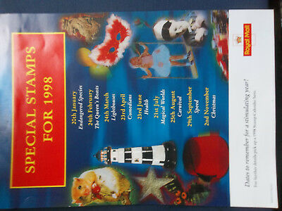 Royal Mail A4 Post Office Poster 1998 Stamp Issue Calendar
