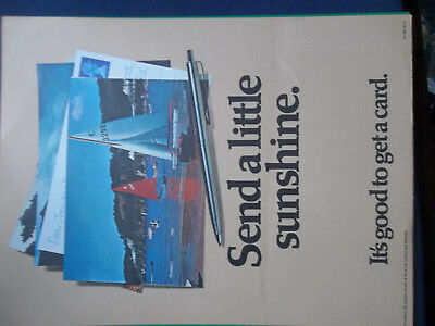 Royal Mail A4 Post Office Poster 1972 Send A Little Sunshine Its Good Get Card
