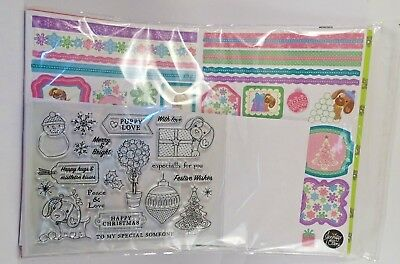 CARD MAKING PACK with clear stamps CHRISTMAS THEMED