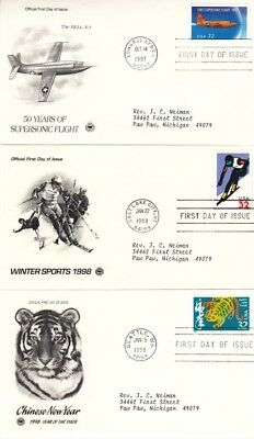 USA - Assortment of First Day Covers (3no. Postal Commemorative FDC's) 1997-98