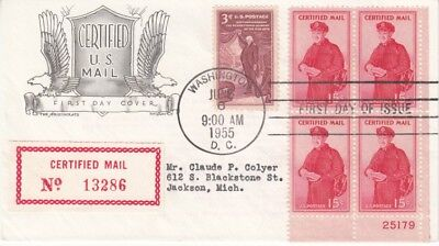 USA - 15c Certified Mail Issue (4 Block The Aristocrats FDC) 1955
