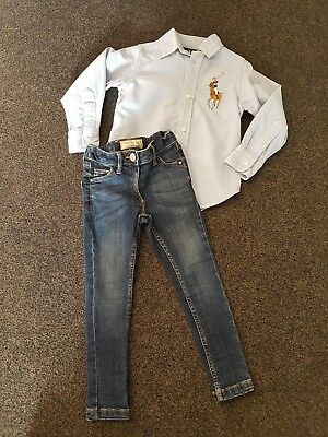 Ralph Lauren Genuine Boys Long Sleeved Shirt & Next Skinny Jeans 2-3 Yrs Vgc