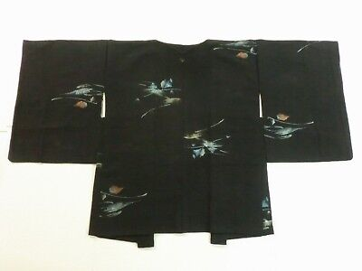 *Antique, Japanese Kimono, HAORI, SILK, URUSHI(Lacquer work), Black P111331