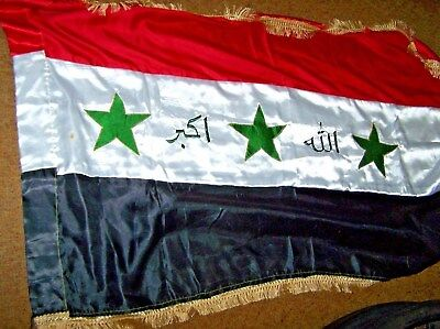 Iraq Flag With Fringe, Embroidered, Double Sided, Iraqi Made *nice*
