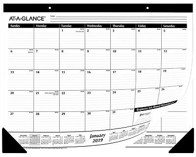 "AT-A-GLANCE Desk Pad Calendar 2019 Monthly Ruled 21 X 3/4  X 17"", 50 UNITS, SALE"