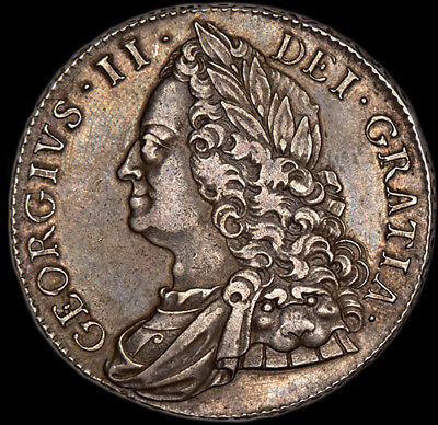 RARE KING GEORGE THE II 1750 SILVER CROWN.. Superb Condition...