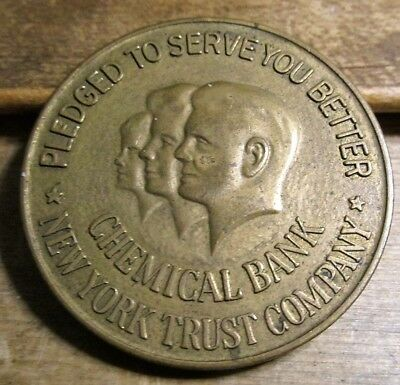 "Chemical Bank New York Trust Co 1 1/2"" Bronze Advertising Medal"