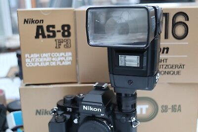 MINT NIKON SPEEDLIGHT SB-16A FLASH WITH AS-8 for F3 F-3 SS-16 SOFT CASE, UNUSED.