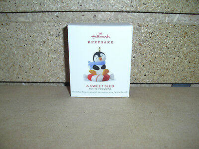 2018 Hallmark Ornament A Sweet Sled 3rd in the Petite Penquins series Miniature