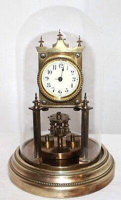 Antique German Angemeldet Torsion Anniversary Dome Shelf Clock W/ Drum Pendulum.