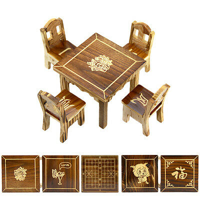 Wooden Dollhouse Miniature Furniture Mini Dining Room 1pc Table4pcs Chair-Toy