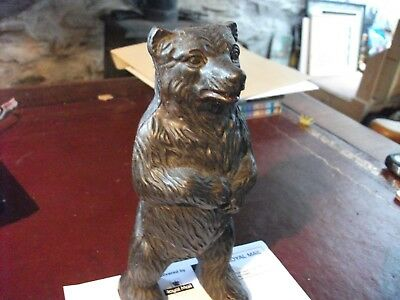 RARE original Antique Vintage bronze grizzly brown Bear Moneybox