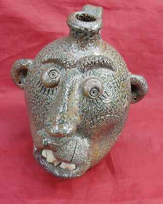 Vtg Turn Burn Pottery David Garner Ugly Face Whiskey Jug Seagrove North Carolina