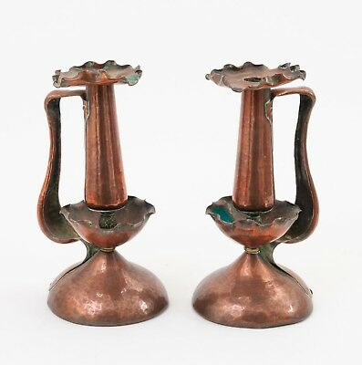 Pair Antique Arts & Crafts Copper Hand Made / Beaten Candlesticks with Handles
