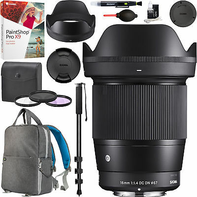 Sigma 16mm f1.4 DC DN Contemporary Lens for Sony E-Mount Filter Backpack Bundle