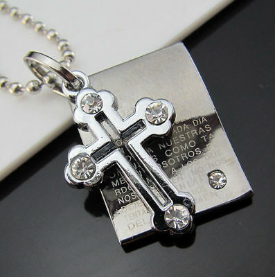 Titanium Cross Bible Black Unisex's Silver Pendant Steel Men Necklace Crystal