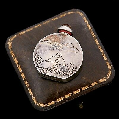 Antique Vintage Deco Retro Sterling Silver Mexican Taxco Perfume Flask Pendant
