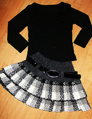 GIRLS BLACK TOP & GREY WHITE TARTAN PLEATED FLARED RUFFLE PARTY SKIRT age 5-6