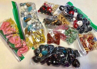 Lot of Vintage Loose Beads Lucite, Glass, Wood+ - Small Flat Rate 1 lb 9 oz.