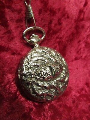 Resident Evil Biohazard 4 Engraved Eyeball Pocket Watch w/ chain FREE FAST SHIP