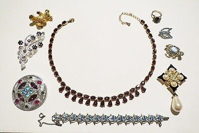LARGE JEWELRY LOT Vintage & Antique RHINESTONE NECKLACE BRACELET Collection