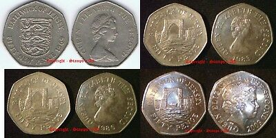 JERSEY 50p 1969 to Date Circulated to UNC  - Mintage table in description