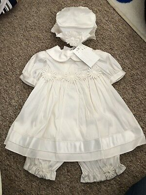 Little Darlings Designer Baby Christening Outfit - Ivory Silk - Sz 12 Months