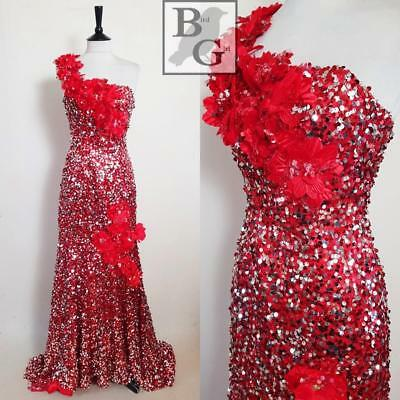 Glam 1980S Vintage Red & Silver Sequin Boned Xmas Evening Ballgown Dress 6 Xs