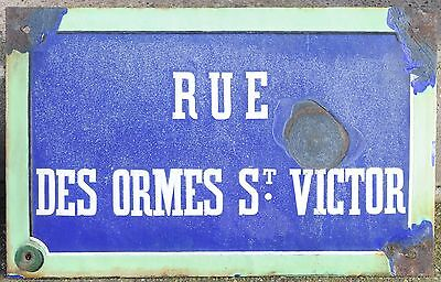 Old French enamel steel street sign road plaque name Rue Ormes St Victor Orleans
