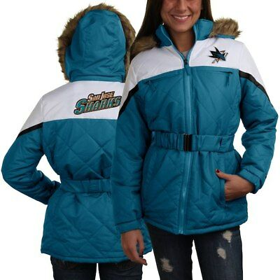 7a5bd6013 San Jose Sharks NHL Women s Full Zip Belted Faux Fur Hooded Jacket Teal  White M