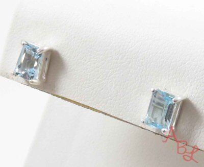 Sterling Silver Vintage 925 Emerald Stud Blue Topaz Earrings (1.8g) - 745043